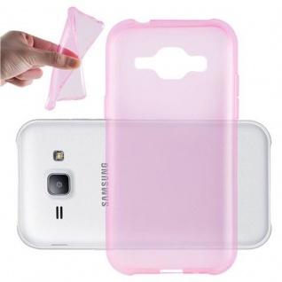 Cadorabo Hülle für Samsung Galaxy J1 2015 in TRANSPARENT PINK - Handyhülle aus flexiblem TPU Silikon - Silikonhülle Schutzhülle Ultra Slim Soft Back Cover Case Bumper