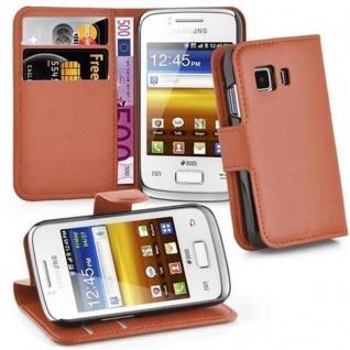 Cadorabo Hülle für Samsung Galaxy YOUNG 2 in SCHOKO BRAUN - Handyhülle mit Magnetverschluss, Standfunktion und Kartenfach - Case Cover Schutzhülle Etui Tasche Book Klapp Style
