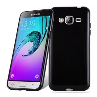 Cadorabo Hülle für Samsung Galaxy J3 2016 in SCHWARZ - Handyhülle aus flexiblem TPU Silikon - Silikonhülle Schutzhülle Ultra Slim Soft Back Cover Case Bumper