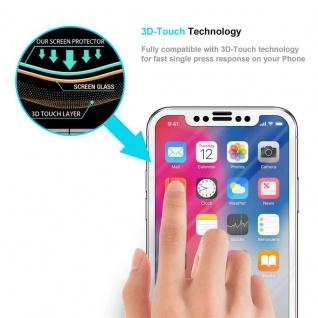 Cadorabo Vollbild Panzer Folie für Apple iPhone X / XS - Schutzfolie in TRANSPARENT mit WEISS - Gehärtetes (Tempered) Display-Schutzglas in 9H Härte mit 3D Touch Kompatibilität - Vorschau 5