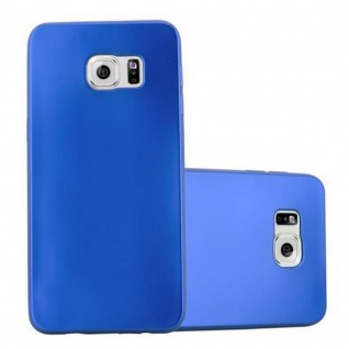 Cadorabo Hülle für Samsung Galaxy S6 EDGE in METALLIC BLAU - Handyhülle aus flexiblem TPU Silikon - Silikonhülle Schutzhülle Ultra Slim Soft Back Cover Case Bumper