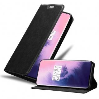 Cadorabo Hülle für OnePlus 7 PRO in NACHT SCHWARZ Handyhülle mit Magnetverschluss, Standfunktion und Kartenfach Case Cover Schutzhülle Etui Tasche Book Klapp Style