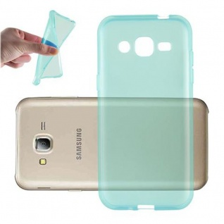 Cadorabo Hülle für Samsung Galaxy J2 2015 in TRANSPARENT BLAU - Handyhülle aus flexiblem TPU Silikon - Silikonhülle Schutzhülle Ultra Slim Soft Back Cover Case Bumper