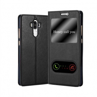 Cadorabo Hülle für Huawei MATE 9 in KOMETEN SCHWARZ - Handyhülle mit Magnetverschluss, Standfunktion und 2 Sichtfenstern - Case Cover Schutzhülle Etui Tasche Book Klapp Style