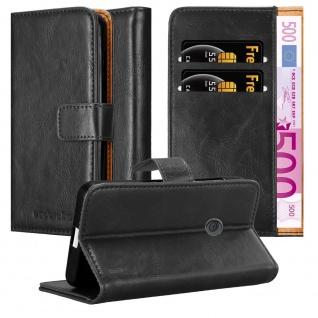 Cadorabo Hülle für Nokia Lumia 520 in GRAPHIT SCHWARZ Handyhülle mit Magnetverschluss, Standfunktion und Kartenfach Case Cover Schutzhülle Etui Tasche Book Klapp Style