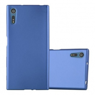 Cadorabo Hülle für Sony Xperia XZ / XZs - Hülle in METALLIC BLAU ? Handyhülle aus TPU Silikon im Matt Metallic Design - Ultra Slim Soft Backcover Case Bumper