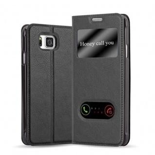 Cadorabo Hülle für Samsung Galaxy ALPHA in KOMETEN SCHWARZ - Handyhülle mit Magnetverschluss, Standfunktion und 2 Sichtfenstern - Case Cover Schutzhülle Etui Tasche Book Klapp Style