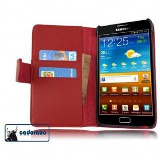 Cadorabo Hülle für Samsung Galaxy NOTE 1 in CHILI ROT - Handyhülle aus glattem Kunstleder mit Standfunktion und Kartenfach - Case Cover Schutzhülle Etui Tasche Book Klapp Style