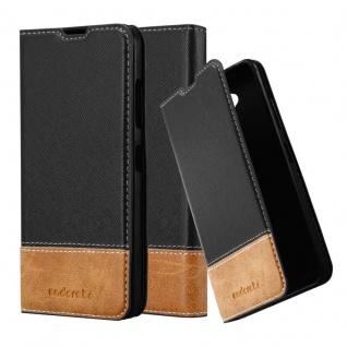 Cadorabo Hülle für Nokia Lumia 650 in SCHWARZ BRAUN ? Handyhülle mit Magnetverschluss, Standfunktion und Kartenfach ? Case Cover Schutzhülle Etui Tasche Book Klapp Style
