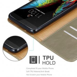 Cadorabo Hülle für LG K10 2016 in CAPPUCCINO BRAUN ? Handyhülle mit Magnetverschluss, Standfunktion und Kartenfach ? Case Cover Schutzhülle Etui Tasche Book Klapp Style - Vorschau 3