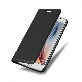 Cadorabo Hülle für Samsung Galaxy S6 in NACHT SCHWARZ - Handyhülle mit Magnetverschluss, Standfunktion und Kartenfach - Case Cover Schutzhülle Etui Tasche Book Klapp Style - Vorschau 3