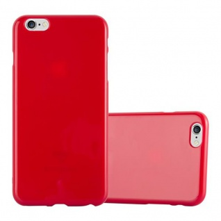Cadorabo Hülle für Apple iPhone 6 PLUS / iPhone 6S PLUS - Hülle in JELLY ROT ? Handyhülle aus TPU Silikon im Jelly Design - Ultra Slim Soft Backcover Case Bumper