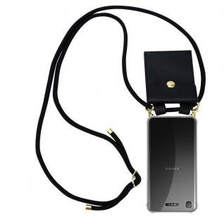 Cadorabo Handy Kette für Sony Xperia XZ1 in SCHWARZ - Silikon Necklace Umhänge Hülle mit Gold Ringen, Kordel Band Schnur und abnehmbarem Etui ? Schutzhülle
