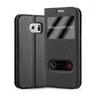 Cadorabo Hülle für Samsung Galaxy S6 EDGE PLUS in KOMETEN SCHWARZ - Handyhülle mit Magnetverschluss, Standfunktion und 2 Sichtfenstern - Case Cover Schutzhülle Etui Tasche Book Klapp Style