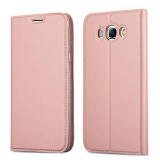 Cadorabo Hülle für Samsung Galaxy J5 2016 in CLASSY ROSÉ GOLD - Handyhülle mit Magnetverschluss, Standfunktion und Kartenfach - Case Cover Schutzhülle Etui Tasche Book Klapp Style