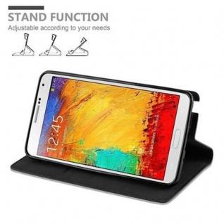 Cadorabo Hülle für Samsung Galaxy NOTE 3 in NACHT SCHWARZ - Handyhülle mit Magnetverschluss, Standfunktion und Kartenfach - Case Cover Schutzhülle Etui Tasche Book Klapp Style - Vorschau 5