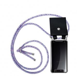 Cadorabo Handy Kette für Samsung Galaxy A80 / A90 in UNICORN Silikon Necklace Umhänge Hülle mit Silber Ringen, Kordel Band Schnur und abnehmbarem Etui Schutzhülle