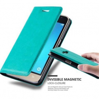 Cadorabo Hülle für Samsung Galaxy J1 2016 in PETROL TÜRKIS - Handyhülle mit Magnetverschluss, Standfunktion und Kartenfach - Case Cover Schutzhülle Etui Tasche Book Klapp Style