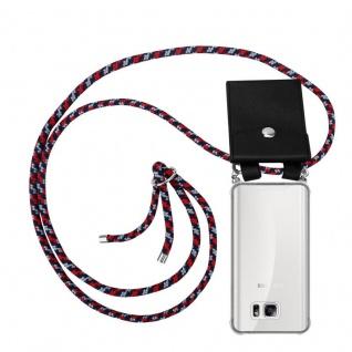 Cadorabo Handy Kette für Samsung Galaxy NOTE 5 in ROT BLAU WEISS - Silikon Necklace Umhänge Hülle mit Silber Ringen, Kordel Band Schnur und abnehmbarem Etui - Schutzhülle