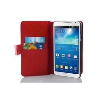 Cadorabo Hülle für Samsung Galaxy NOTE 3 in INFERNO ROT Handyhülle aus strukturiertem Kunstleder mit Standfunktion und Kartenfach Case Cover Schutzhülle Etui Tasche Book Klapp Style