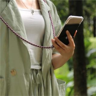 Cadorabo Handy Kette für Huawei P10 in ROT WEISS - Silikon Necklace Umhänge Hülle mit Silber Ringen, Kordel Band Schnur und abnehmbarem Etui - Schutzhülle - Vorschau 3
