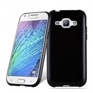 Cadorabo Hülle für Samsung Galaxy J1 2015 in SCHWARZ - Handyhülle aus flexiblem TPU Silikon - Silikonhülle Schutzhülle Ultra Slim Soft Back Cover Case Bumper