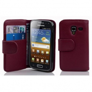 Cadorabo Hülle für Samsung Galaxy ACE 2 in BORDEAUX LILA ? Handyhülle aus strukturiertem Kunstleder mit Standfunktion und Kartenfach ? Case Cover Schutzhülle Etui Tasche Book Klapp Style