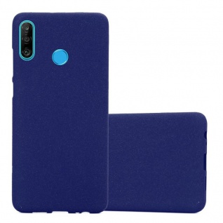 Cadorabo Hülle für Huawei P30 LITE in FROST DUNKEL BLAU Handyhülle aus flexiblem TPU Silikon Silikonhülle Schutzhülle Ultra Slim Soft Back Cover Case Bumper