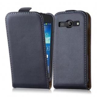 Cadorabo Hülle für Samsung Galaxy CORE PLUS in KAVIAR SCHWARZ - Handyhülle im Flip Design aus glattem Kunstleder - Case Cover Schutzhülle Etui Tasche Book Klapp Style