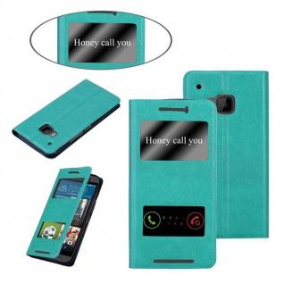 Cadorabo Hülle für HTC One M9 in MINT TÜRKIS ? Handyhülle mit Magnetverschluss, Standfunktion und 2 Sichtfenstern ? Case Cover Schutzhülle Etui Tasche Book Klapp Style - Vorschau 3