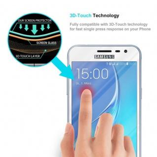 Cadorabo Vollbild Panzer Folie für Samsung Galaxy J3 / J3 DUOS 2016 - Schutzfolie in TRANSPARENT mit WEISS - Gehärtetes (Tempered) Display-Schutzglas in 9H Härte mit 3D Touch Kompatibilität - Vorschau 5