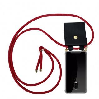Cadorabo Handy Kette für OnePlus 7 in RUBIN ROT Silikon Necklace Umhänge Hülle mit Gold Ringen, Kordel Band Schnur und abnehmbarem Etui Schutzhülle