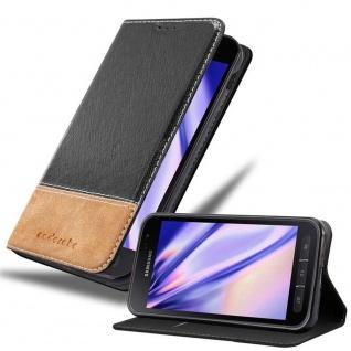 Cadorabo Hülle für Samsung Galaxy XCover 4 / XCover 4S in SCHWARZ BRAUN Handyhülle mit Magnetverschluss, Standfunktion und Kartenfach Case Cover Schutzhülle Etui Tasche Book Klapp Style