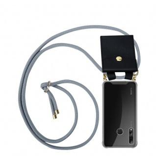 Cadorabo Handy Kette für Huawei P SMART PLUS 2019 in SILBER GRAU Silikon Necklace Umhänge Hülle mit Gold Ringen, Kordel Band Schnur und abnehmbarem Etui Schutzhülle