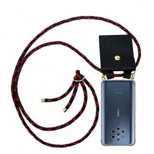Cadorabo Handy Kette für Nokia 10 in SCHWARZ ROT Silikon Necklace Umhänge Hülle mit Gold Ringen, Kordel Band Schnur und abnehmbarem Etui Schutzhülle