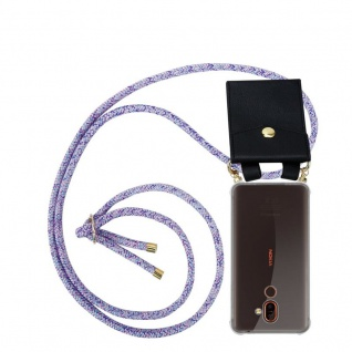 Cadorabo Handy Kette für Nokia 7 PLUS in UNICORN - Silikon Necklace Umhänge Hülle mit Gold Ringen, Kordel Band Schnur und abnehmbarem Etui ? Schutzhülle