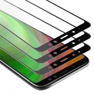 Cadorabo 3x Vollbild Panzer Folie für Samsung Galaxy A8 2018 - Schutzfolie in TRANSPARENT mit SCHWARZ - 3er Pack Gehärtetes (Tempered) Display-Schutzglas in 9H Härte mit 3D Touch