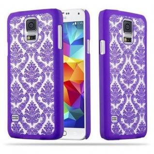 Samsung Galaxy S5 / S5 NEO Hardcase Hülle in LILA von Cadorabo - Blumen Paisley Henna Design Schutzhülle ? Handyhülle Bumper Back Case Cover