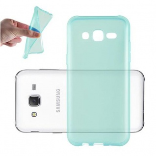 Cadorabo Hülle für Samsung Galaxy J3 2015 in TRANSPARENT BLAU - Handyhülle aus flexiblem TPU Silikon - Silikonhülle Schutzhülle Ultra Slim Soft Back Cover Case Bumper