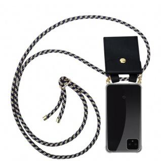 Cadorabo Handy Kette für Google Pixel 4 in DUNKELBLAU GELB - Silikon Necklace Umhänge Hülle mit Gold Ringen, Kordel Band Schnur und abnehmbarem Etui ? Schutzhülle