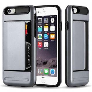 Cadorabo Hülle für Apple iPhone 6 / iPhone 6S - Hülle in ARMOR SILBER - Handyhülle mit Kartenfach - Hard Case TPU Silikon Schutzhülle für Hybrid Cover im Outdoor Heavy Duty Design