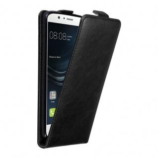 Cadorabo Hülle für Huawei P9 LITE in NACHT SCHWARZ Handyhülle im Flip Design mit unsichtbarem Magnetverschluss Case Cover Schutzhülle Etui Tasche Book Klapp Style