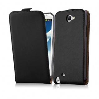 Cadorabo Hülle für Samsung Galaxy NOTE (2. Gen.) - Hülle in KAVIAR SCHWARZ ? Handyhülle aus glattem Kunstleder im Flip Design - Case Cover Schutzhülle Etui Tasche