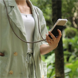 Cadorabo Handy Kette für Apple iPhone 6 PLUS / iPhone 6S PLUS in DUNKELBLAU GELB Silikon Necklace Umhänge Hülle mit Silber Ringen, Kordel Band Schnur und abnehmbarem Etui Schutzhülle - Vorschau 4