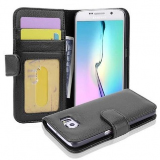 Cadorabo Hülle für Samsung Galaxy S6 in OXID SCHWARZ Handyhülle mit Magnetverschluss und 3 Kartenfächern Case Cover Schutzhülle Etui Tasche Book Klapp Style