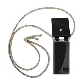 Cadorabo Handy Kette für Google Pixel 4 XL in RAINBOW Silikon Necklace Umhänge Hülle mit Silber Ringen, Kordel Band Schnur und abnehmbarem Etui Schutzhülle