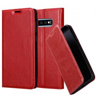 Cadorabo Hülle für Samsung Galaxy S10 PLUS in APFEL ROT - Handyhülle mit Magnetverschluss, Standfunktion und Kartenfach - Case Cover Schutzhülle Etui Tasche Book Klapp Style