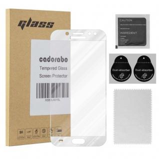Cadorabo Vollbild Panzer Folie für Samsung Galaxy J7 PRO - Schutzfolie in TRANSPARENT mit WEISS - Gehärtetes (Tempered) Display-Schutzglas in 9H Härte mit 3D Touch Kompatibilität
