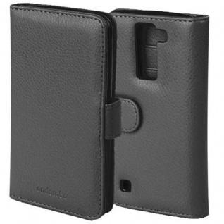 Cadorabo Hülle für LG K8 2016 in OXID SCHWARZ Handyhülle mit Magnetverschluss und 3 Kartenfächern Case Cover Schutzhülle Etui Tasche Book Klapp Style