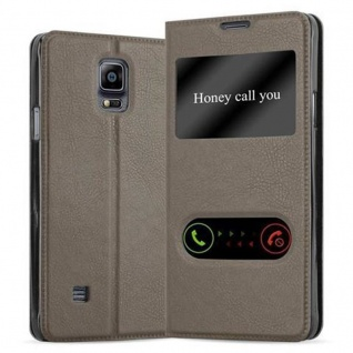 Cadorabo Hülle für Samsung Galaxy NOTE 4 in STEIN BRAUN Handyhülle mit Magnetverschluss, Standfunktion und 2 Sichtfenstern Case Cover Schutzhülle Etui Tasche Book Klapp Style